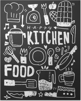 Póster Cozinha elementos doodles mão linha traçada ícone, eps10