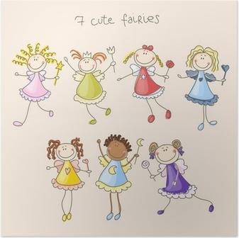 Póster Cute fairies illustration