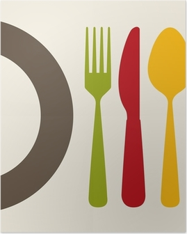 Póster cutlery design
