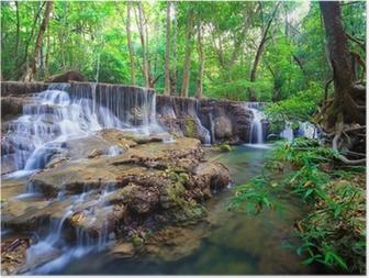 Póster Deep forest Waterfall in Kanchanaburi, Thailand