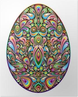 Póster Easter Egg Psychedelic Art Design Uovo di Pasqua Ornamentale