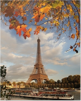 Póster Eiffel Tower with autumn leaves in Paris, France