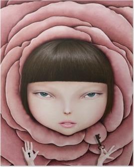 Póster em HD Ilustração conceptual ou um cartaz com a cabeça da menina na pétala de rosa com chave na mão.