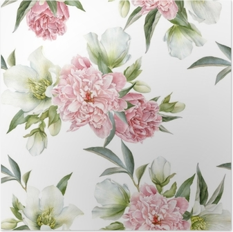 Póster em HD Padrão floral sem costura com peônias e Hellebore