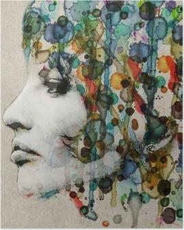 Póster em HD Watercolor female profile