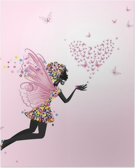 Póster Fairy with a valentine of butterflies