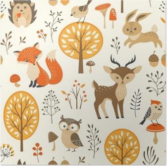 Póster Floresta do outono padrão sem emenda com animais bonitos