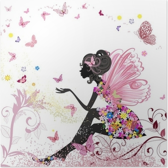 Póster Flower Fairy in the environment of butterflies