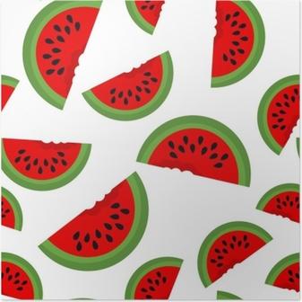 Poster Padrao De Cores Loucas Da Fruta Da Melancia Continua Do