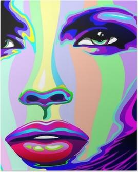 Póster Girl's Portrait Psychedelic Rainbow-Viso Ragazza Psychedelico
