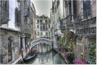 Póster Gondel, Palazzi und Bruecke, Venedig, Italien