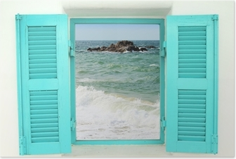 Póster Greek style window with sea view