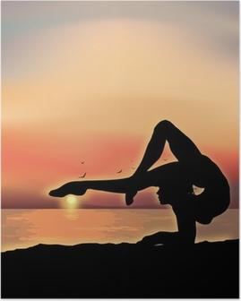 Póster Gymnast exercising near the sea