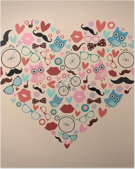 Póster Hipster Doodles Set in Heart Shape