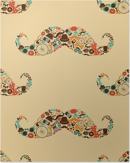 Póster Hipster Mustache Colorful Seamless Pattern