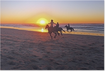 Póster Horse riding on the beach at sunset