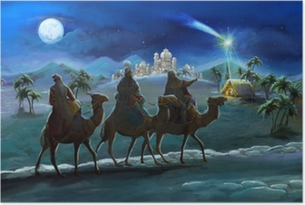 Póster Illustration of the holy family and three kings