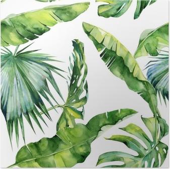 Póster Ilustração sem costura de aquarela de folhas tropicais, selva densa. Padrão com motivo de verão tropico pode ser usado como textura de fundo, papel de embrulho, têxtil, design de papel de parede.