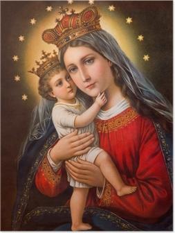 Póster Imagem católica típico de Madonna com a criança