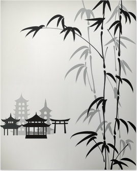 Póster ink painted bamboo