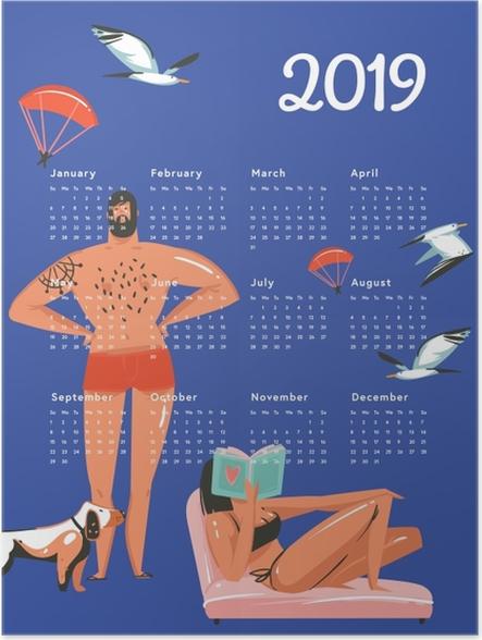 Póster Kalendarz 2019 - descanso na praia -