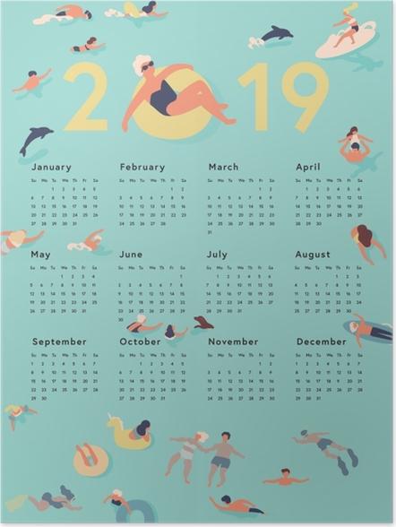 Póster Kalendarz 2019 - horário de verão -