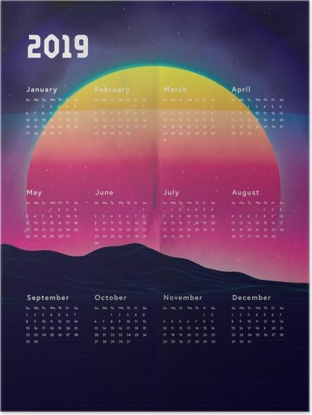 Póster Kalendarz 2019 - pôr do sol -