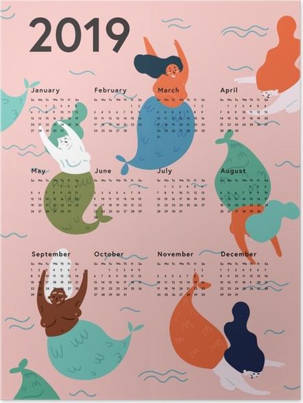 Póster Kalendarz 2019 - sereias -