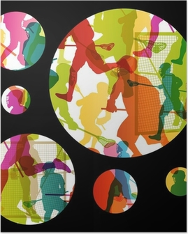 Póster Lacrosse players active men sports silhouettes abstract backgrou