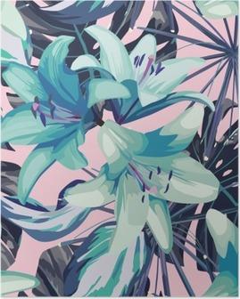 Póster Lírio azul e folhas de fundo transparente