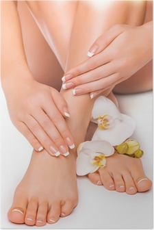 Póster manicure and pedicure with white orchid. isolated