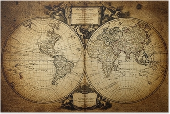 Póster map of world 1752
