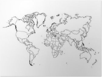 Póster Mapa Político Mundial do vetor.