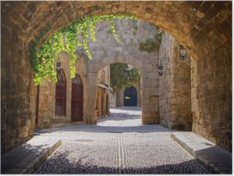 Póster Medieval arched street in the old town of Rhodes, Greece