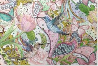 Póster Moda textura sem costura com ornamentos florais étnicos e beija-flores. Pintura aquarela