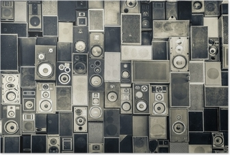 Póster Music speakers on the wall in monochrome vintage style