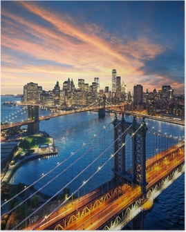 Póster New York City - sunset over manhattan and brooklyn bridge