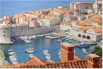 Póster Old town Dubrovnik and the marina