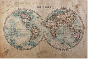 Póster Old World Map in Hemispheres