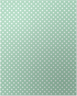 Póster Polka dots on fresh mint background seamless vector pattern