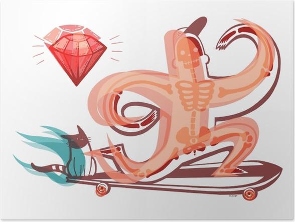 Póster Pomarańczowy szkielet na longboardzie -