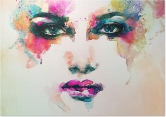 Póster Retrato da mulher. aquarela abstrata. fundo moda