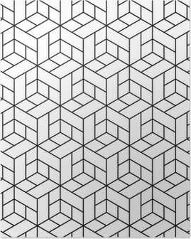 Póster Seamless geometric pattern with cubes.