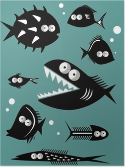 Póster Set of funny fishes