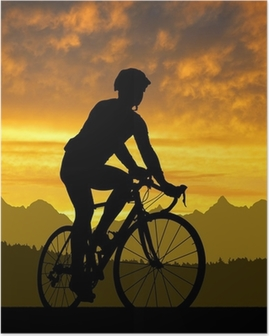 Póster silhouette of the cyclist riding a road bike at sunset