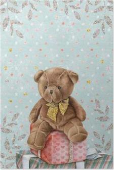 Póster Teddy Bear aguarela bonito com caixas de presente