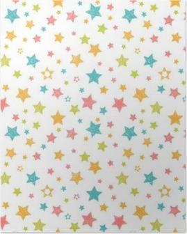 Póster Teste padrão sem emenda bonito com estrelas. Cópia à moda com a mão tirada