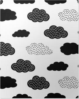 Póster Teste padrão sem emenda preto e branco com nuvens. Fundo do vetor do chá de bebê bonito. Ilustração criança estilo de desenho.