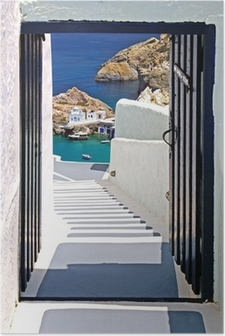 Póster Traditional architecture of Oia village on Santorini island, Gre
