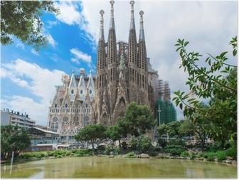 Póster view of Sagrada Familia in Barcelona. Spain